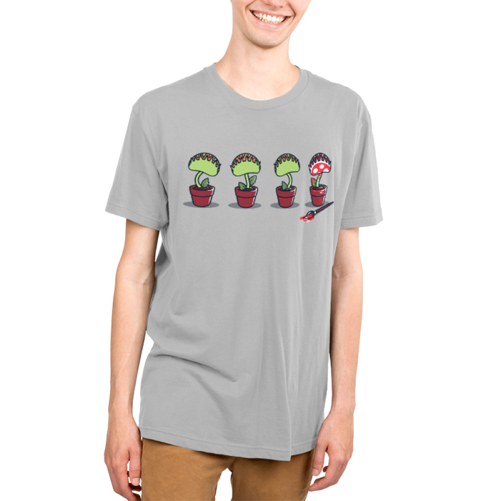 Painting Plant Men's t-shirt model TeeTurtle gray t-shirt featuring four potted plants, one painted red with white polkadots