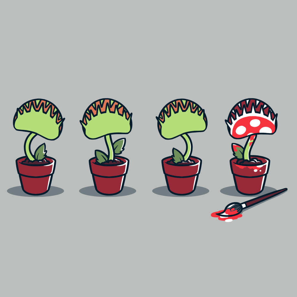 Painting Plant t-shirt TeeTurtle gray t-shirt featuring four potted plants, one painted red with white polkadots