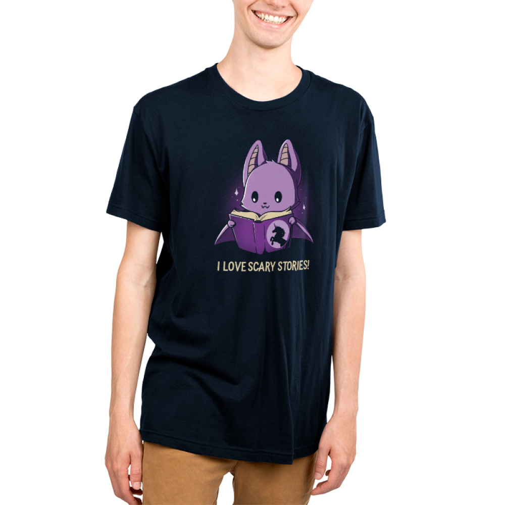 I Love Scary Stories! Men's t-shirt model TeeTurtle navy t-shirt featuring a purple bat reading a unicorn book