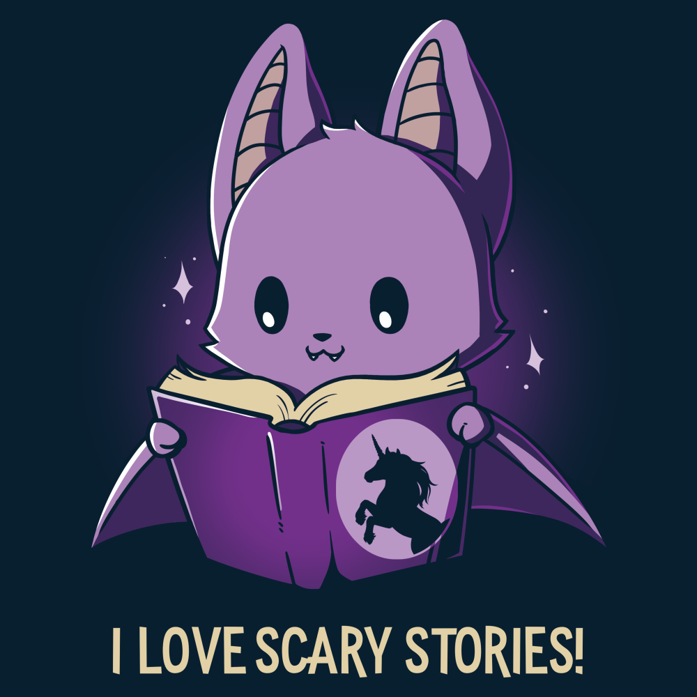 I Love Scary Stories! t-shirt TeeTurtle navy t-shirt featuring a purple bat reading a unicorn book
