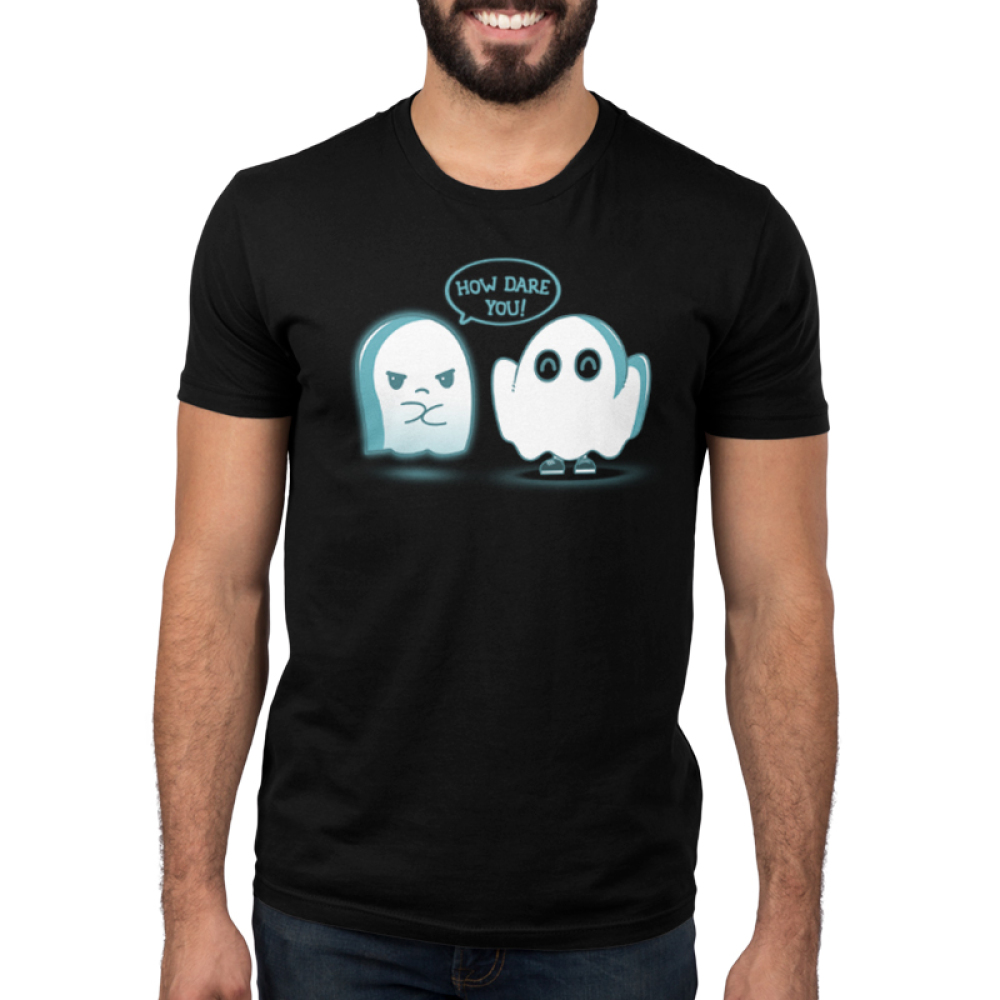 How Dare You! Men's t-shirt model TeeTurtle black t-shirt featuring an angry ghost and an imposter ghost