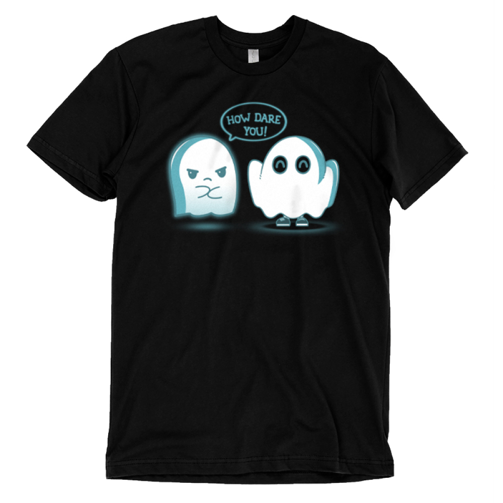 How Dare You! t-shirt TeeTurtle black t-shirt featuring an angry ghost and an imposter ghost