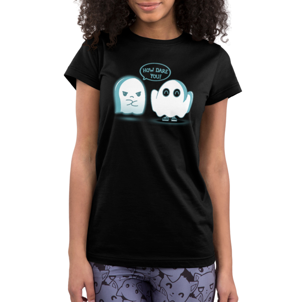 How Dare You! Junior's t-shirt model TeeTurtle black t-shirt featuring an angry ghost and an imposter ghost