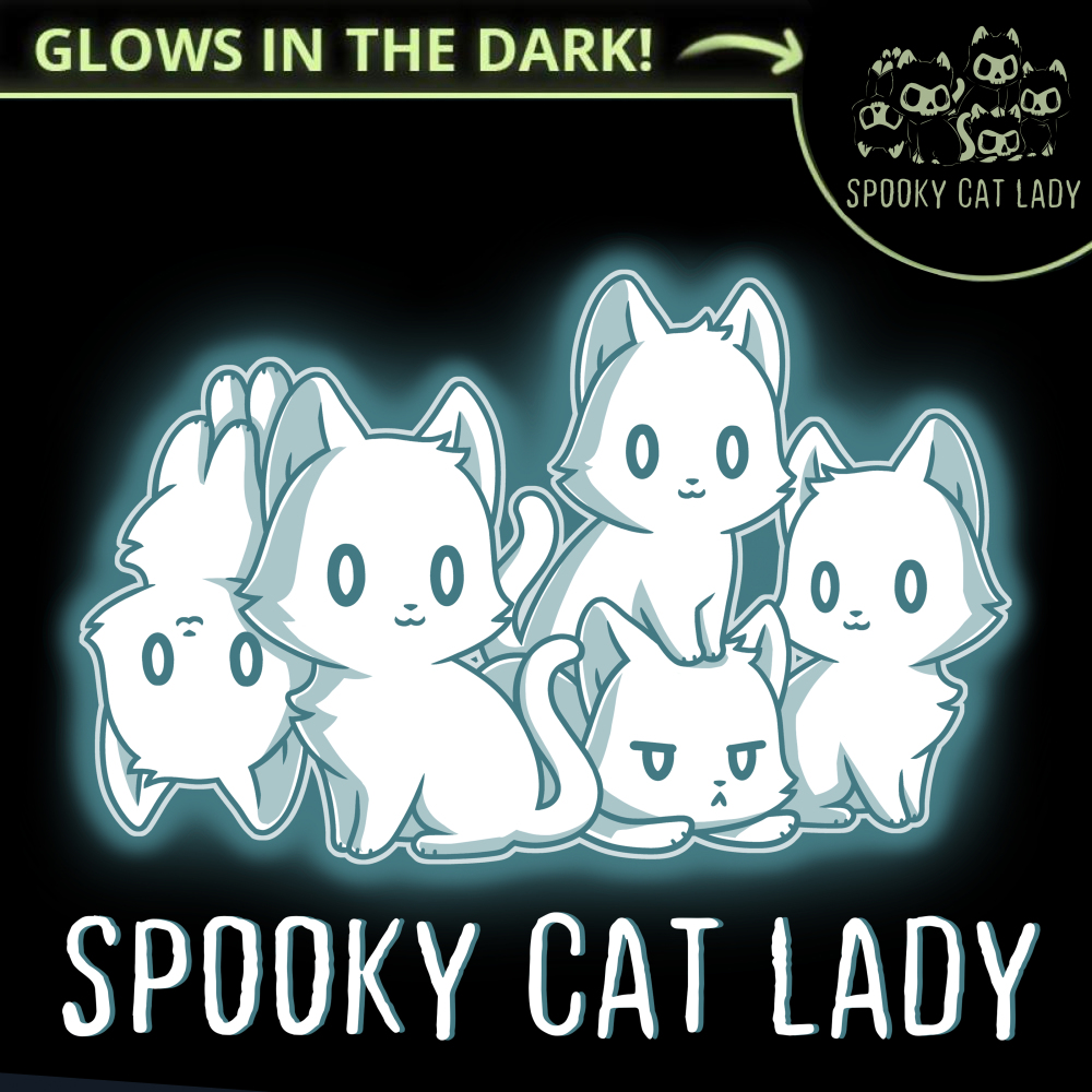 Spooky Cat Lady t-shirt TeeTurtle black t-shirt featuring five glow in the dark cats