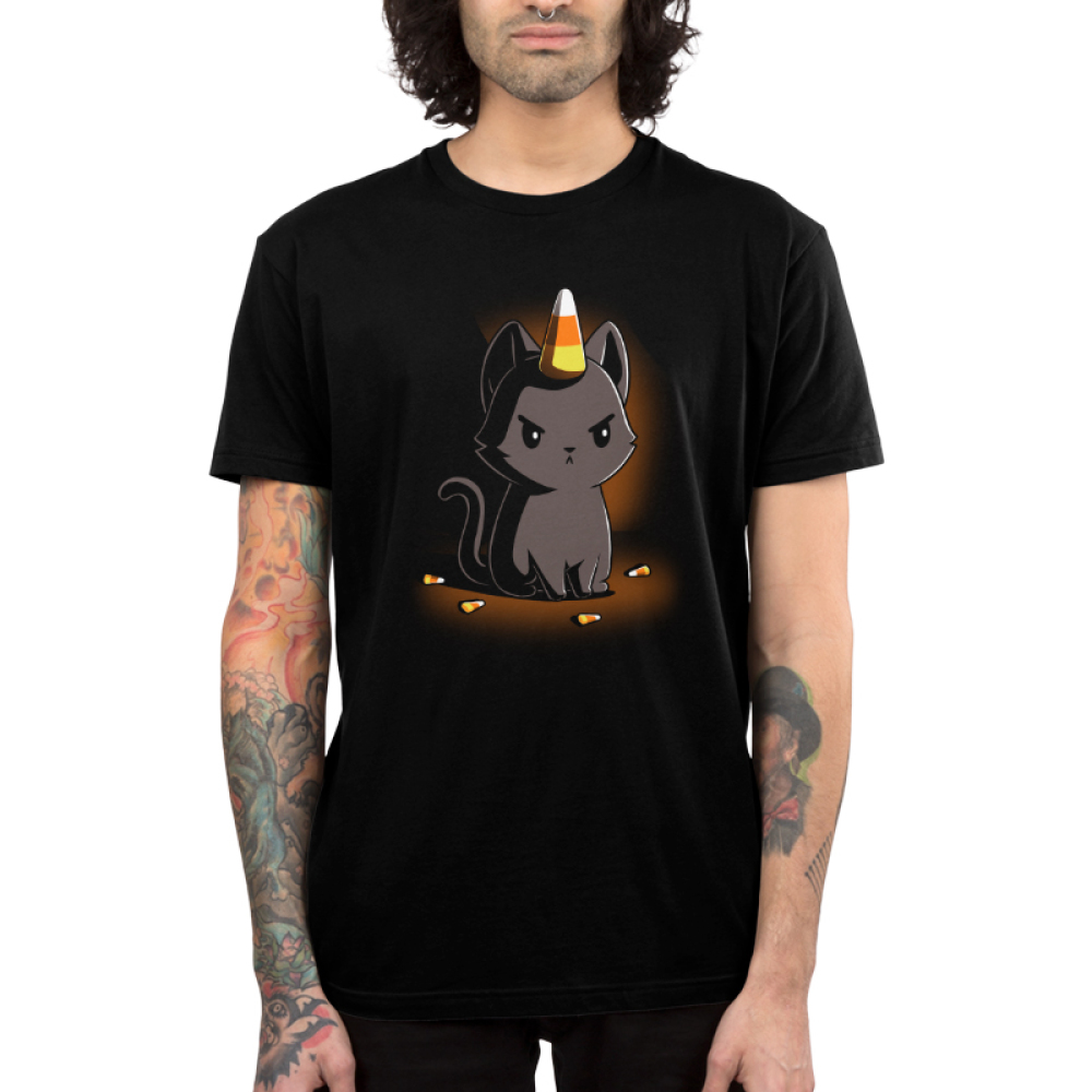Candycorn Kittencorn Men's t-shirt model TeeTurtle black t-shirt featuring a cat with candy corn on his head and by his feet