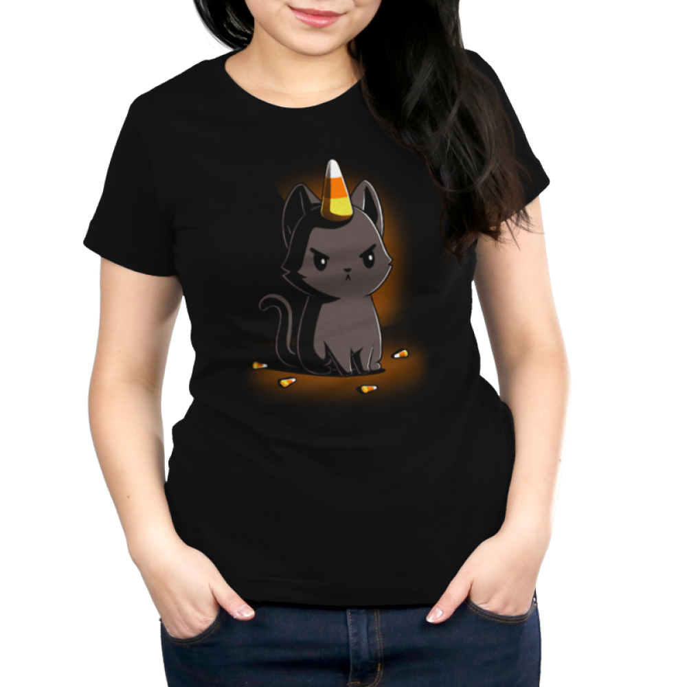Candycorn Kittencorn Women's t-shirt model TeeTurtle black t-shirt featuring a cat with candy corn on his head and by his feet