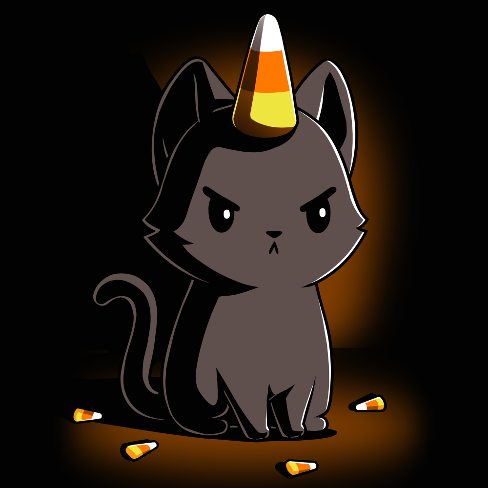 Candycorn Kittencorn t-shirt TeeTurtle black t-shirt featuring a cat with candy corn on his head and by his feet