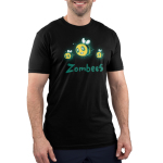 Zombees Men's t-shirt model TeeTurtle black t-shirt t=featuring three flying zombie bees