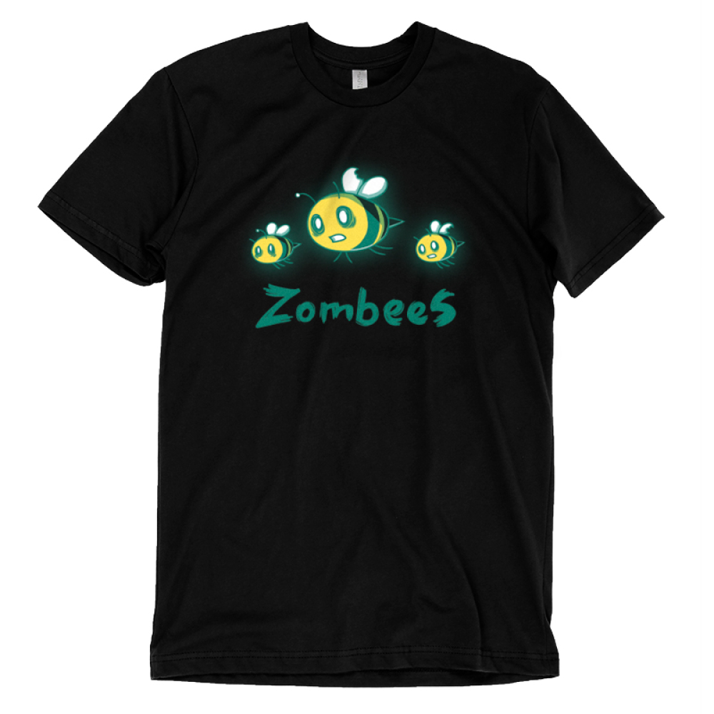 Zombees t-shirt TeeTurtle black t-shirt t=featuring three flying zombie bees