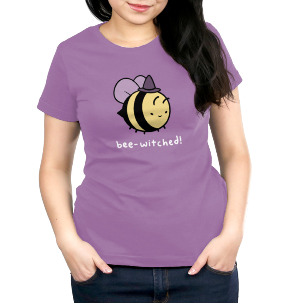 Bee-Witched! Women's t-shirt model TeeTurtle Lavender t-shirt featuring a bumble bee flying with a witch hat on