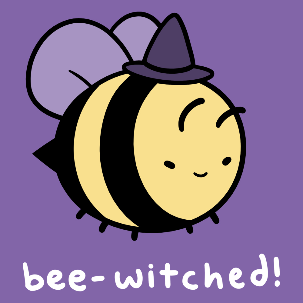 Bee-Witched! t-shirt TeeTurtle purple t-shirt featuring a bumble bee flying with a witch hat on