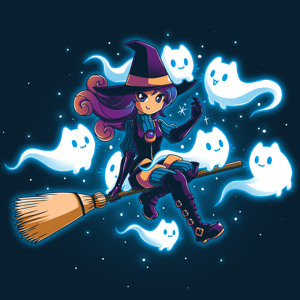 Ghostly Friends t-shirt TeeTurtle navy t-shirt featuring a witch flying on a broom with her seven ghost friends