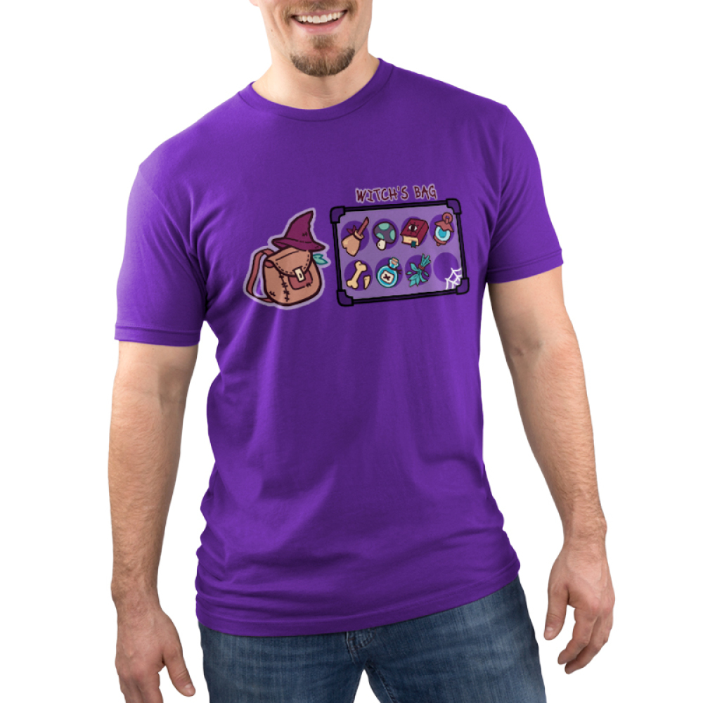 Witch's Bag Men's t-shirt model TeeTurtle purple t-shirt featuring a witch's bag with a broom, mushroom, spell book, lantern, bone, poison, herbs,