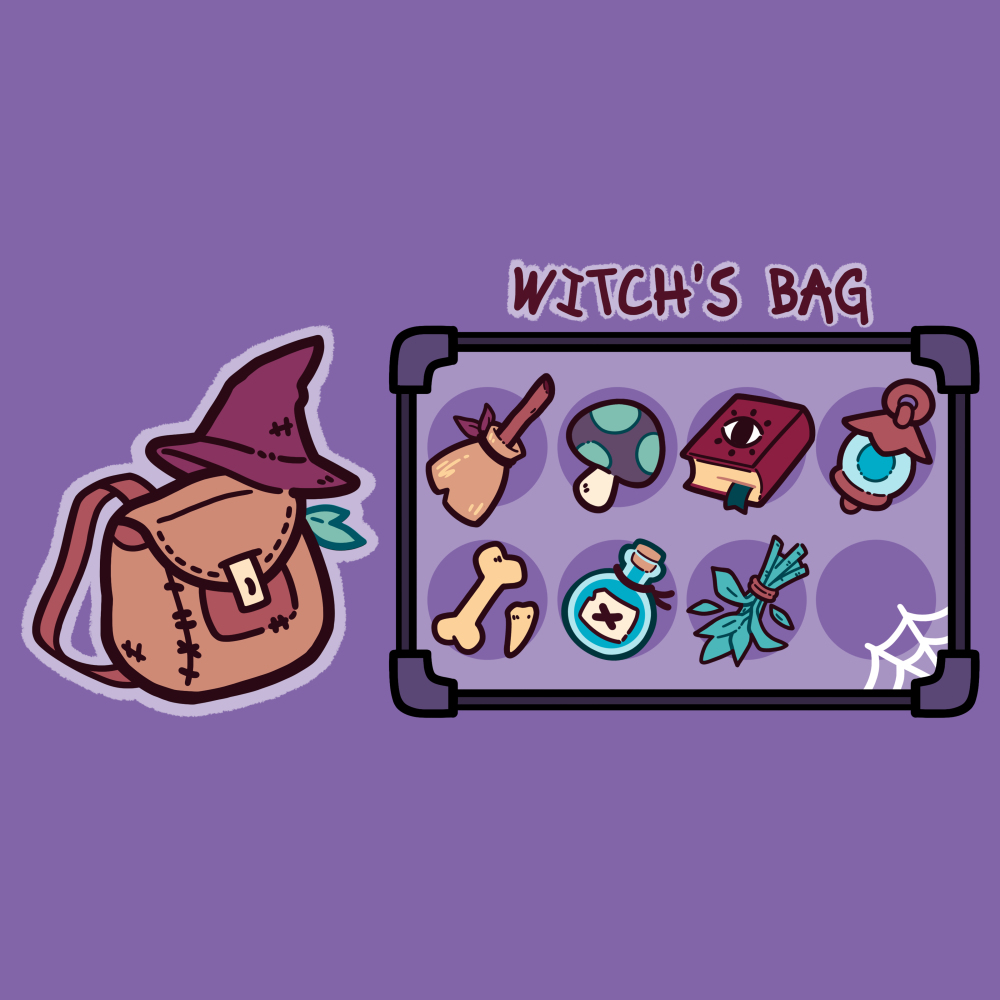 Witch's Bag t-shirt TeeTurtle purple t-shirt featuring a witch's bag with a broom, mushroom, spell book, lantern, bone, poison, herbs,