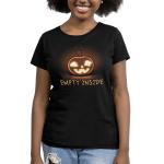 Empty Inside Women's t-shirt model TeeTurtle black t-shirt featuring a smiling jack-o-lantern