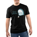 Sheet Happens Men's t-shirt model TeeTurtle black t-shirt featuring a sad ghost who skilled his coffee
