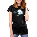Sheet Happens Women's t-shirt model TeeTurtle black t-shirt featuring a sad ghost who skilled his coffee