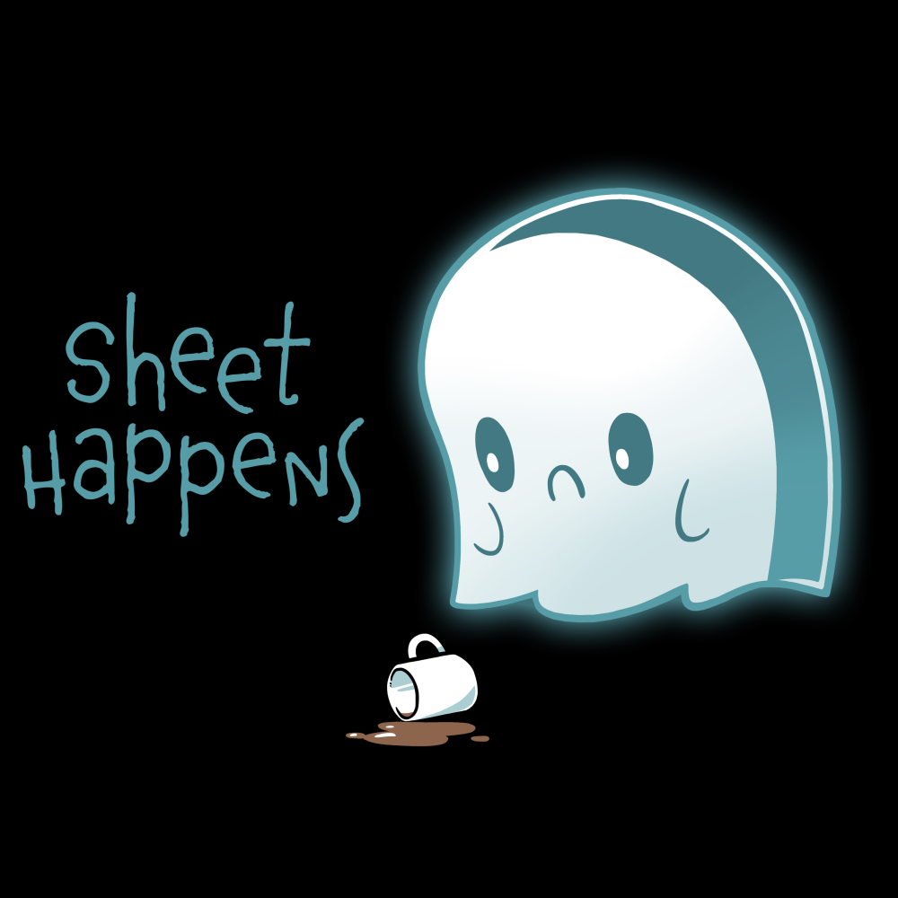 Sheet Happens t-shirt TeeTurtle black t-shirt featuring a sad ghost who skilled his coffee