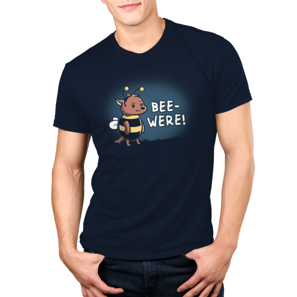 Bee-Were Men's t-shirt model TeeTurtle navy t-shirt featuring an angry bear in a bumble bee costume
