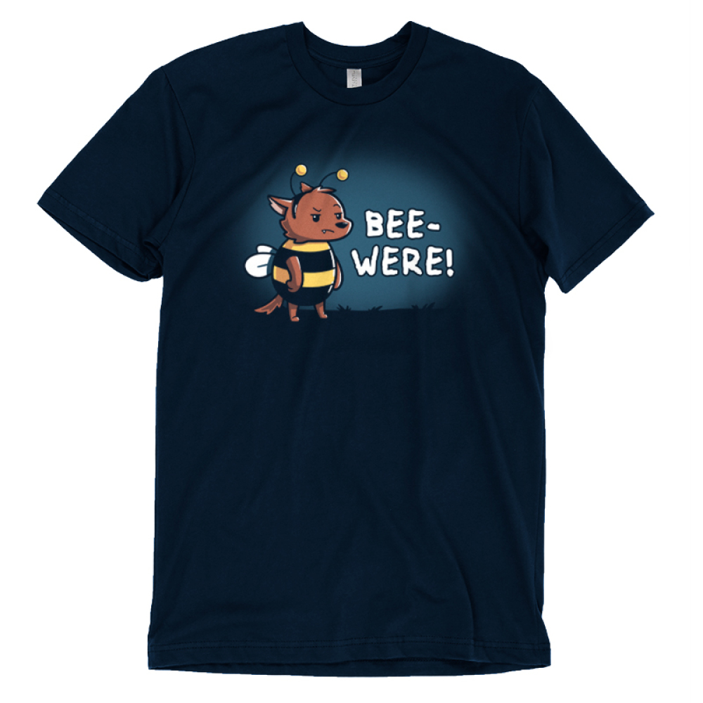 Bee-Were t-shirt TeeTurtle navy t-shirt featuring an angry bear in a bumble bee costume