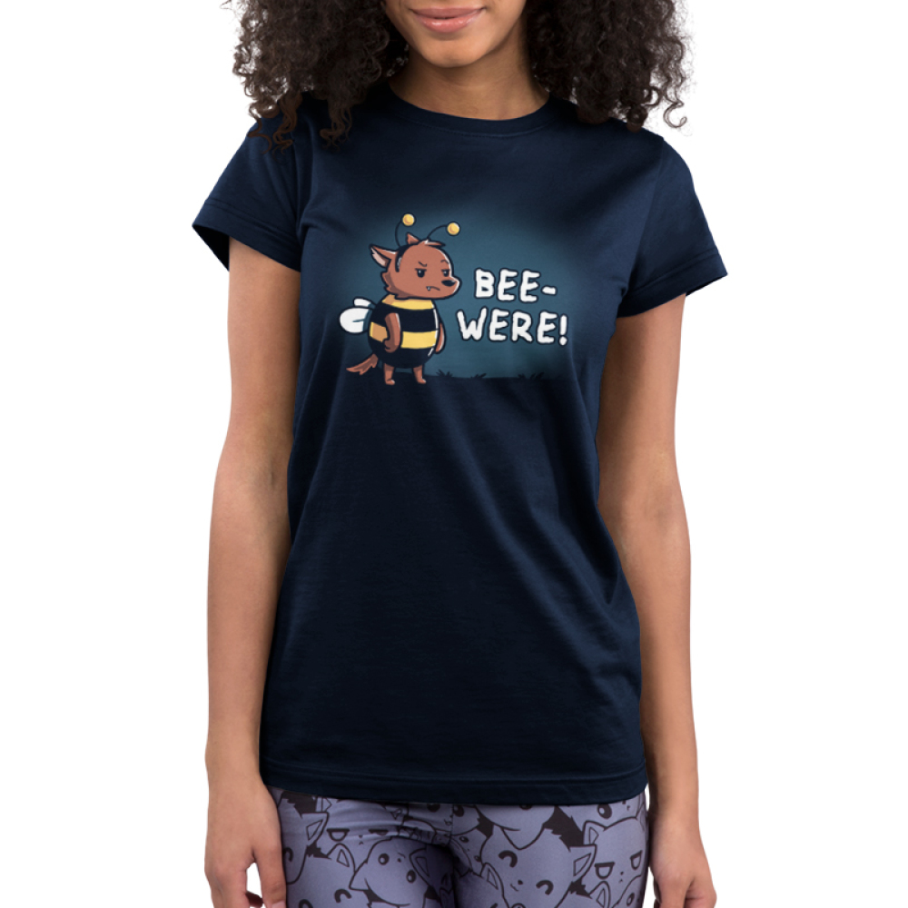 Bee-Were Junior's t-shirt model TeeTurtle navy t-shirt featuring an angry bear in a bumble bee costume