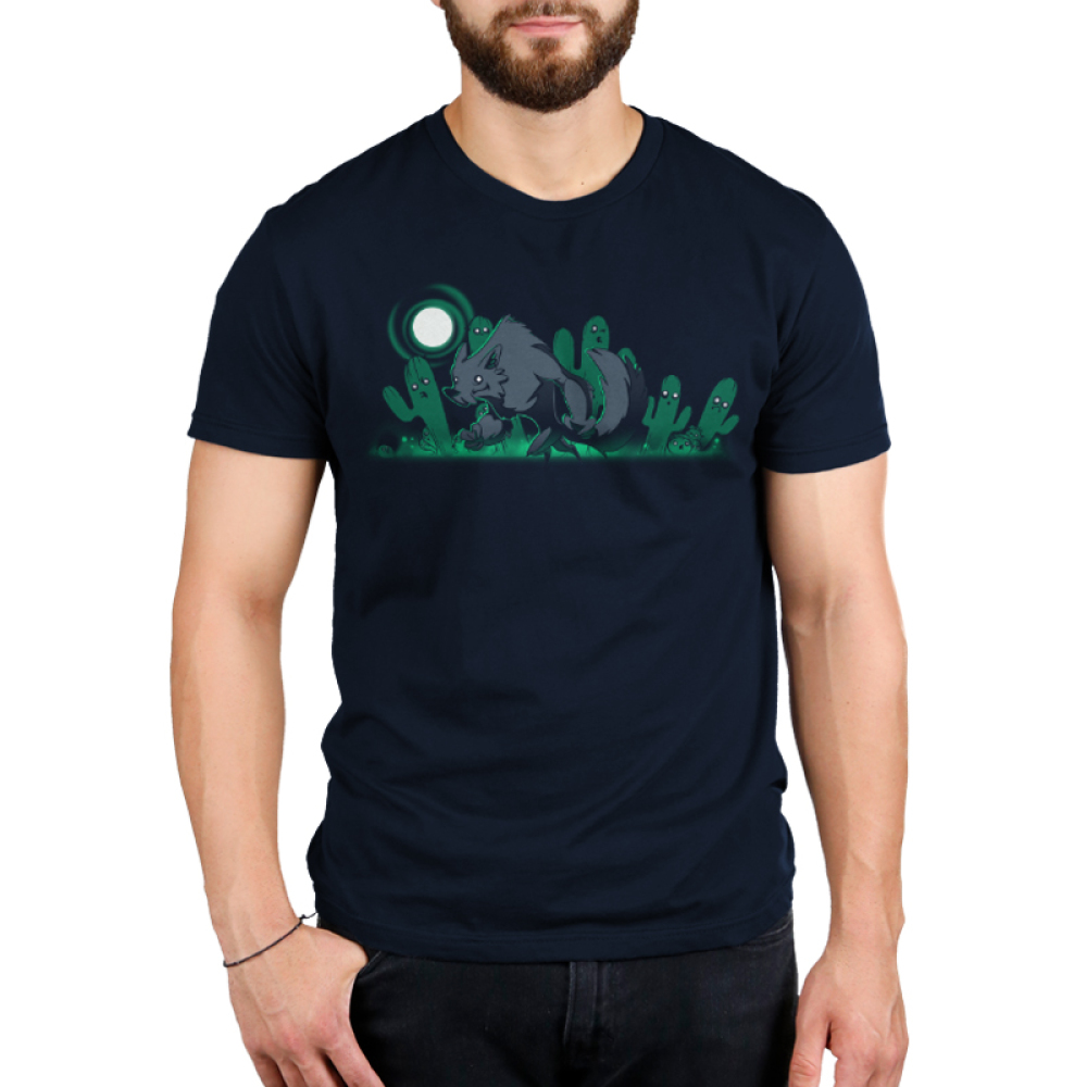 Desert Werewolf Men's t-shirt model TeeTurtle navy t-shirt featuring a werewolf, a full moon, and ghostly cacti