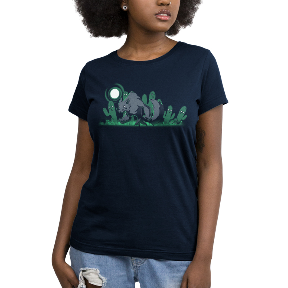 Desert Werewolf Women's t-shirt model TeeTurtle navy t-shirt featuring a werewolf, a full moon, and ghostly cacti