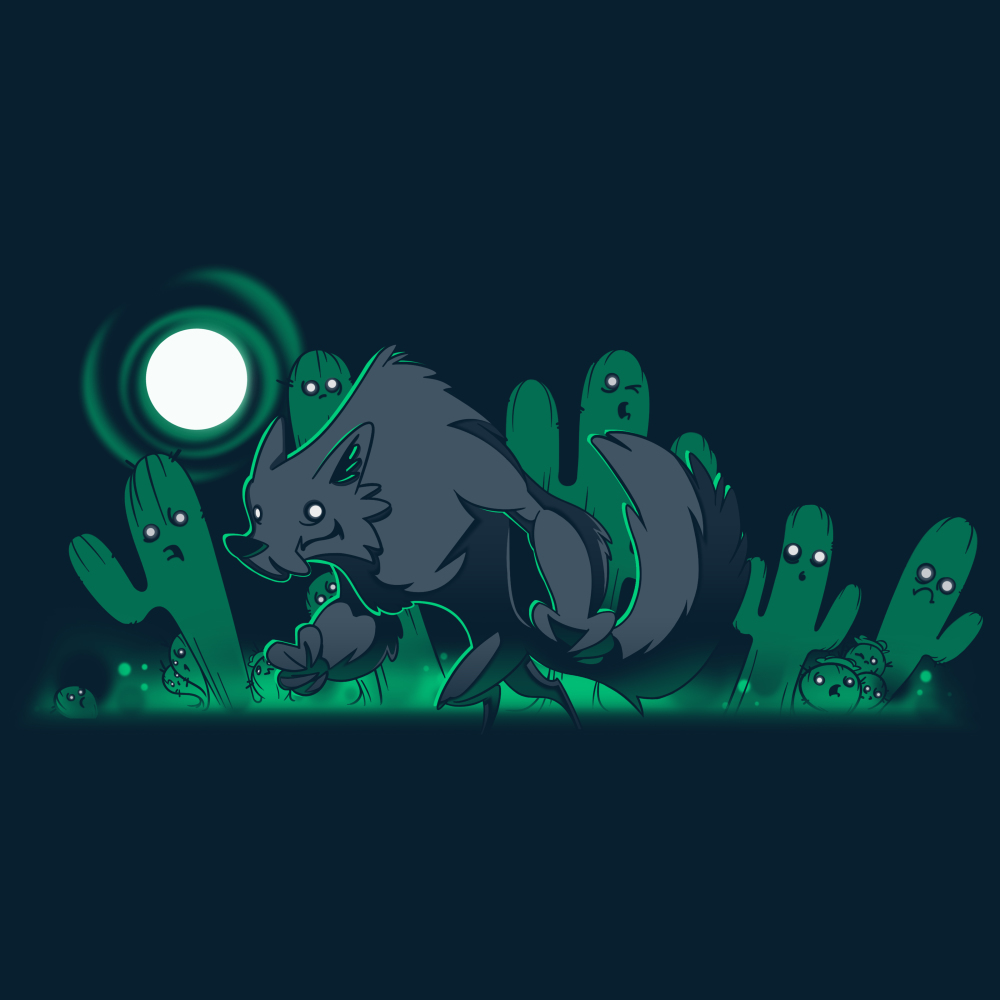 Desert Werewolf t-shirt TeeTurtle navy t-shirt featuring a werewolf, a full moon, and ghostly cacti