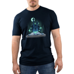 Haunted Storybook Men's t-shirt model TeeTurtle navy t-shirt featuring a haunted castle coming out of a storybook surrounded by ghosts, spider webs, and a full moon