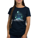 Haunted Storybook Women's t-shirt model TeeTurtle navy t-shirt featuring a haunted castle coming out of a storybook surrounded by ghosts, spider webs, and a full moon
