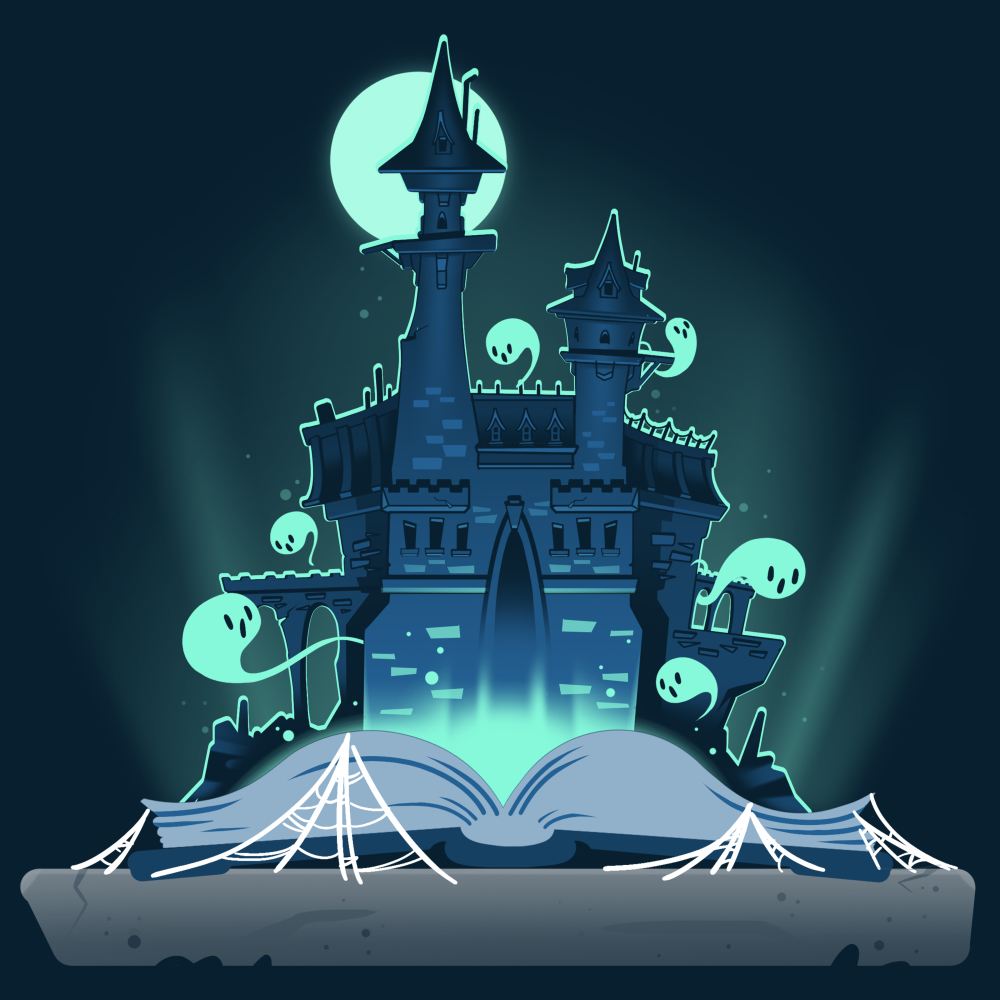Haunted Storybook t-shirt TeeTurtle navy t-shirt featuring a haunted castle coming out of a storybook surrounded by ghosts, spider webs, and a full moon