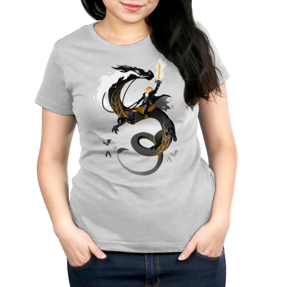 Halloween Knight Women's t-shirt model TeeTurtle t-shirt featuring a knight with a sword on fire battling on the back of a dragon