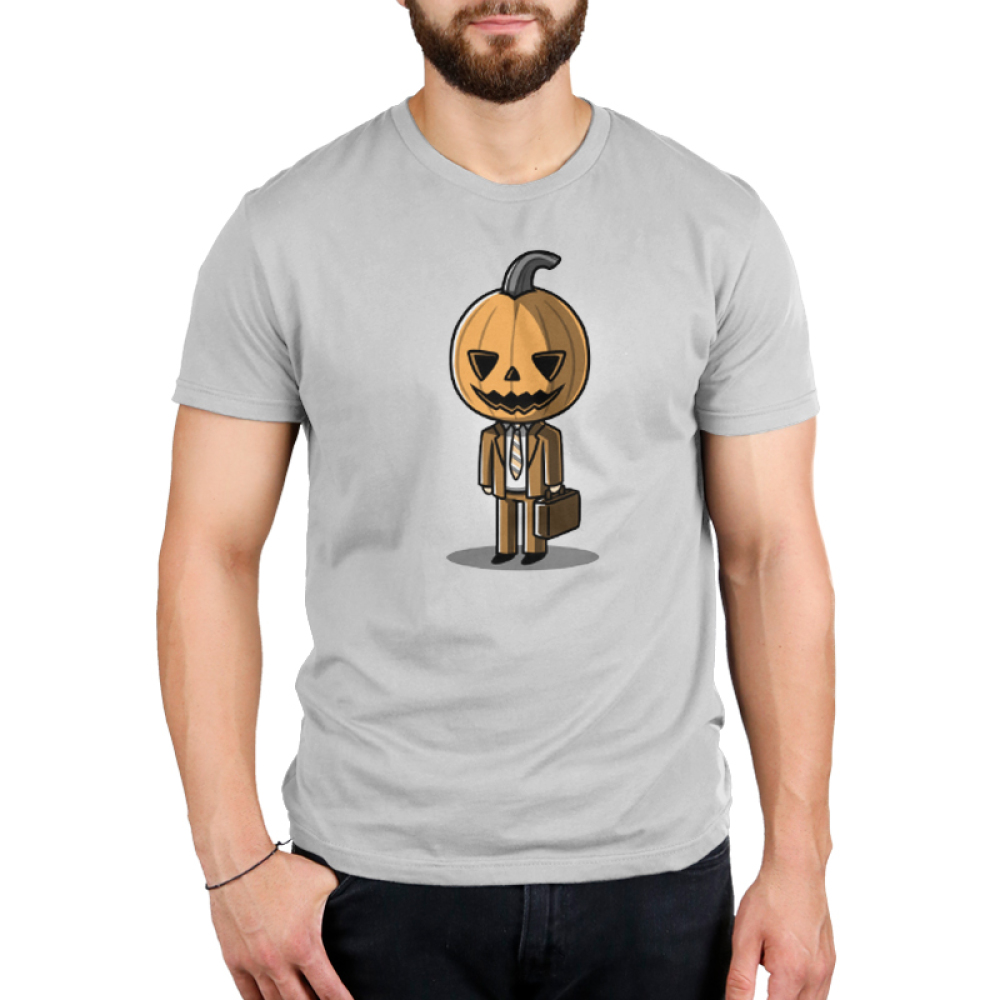 Formal Pumpkin Men's t-shirt model TeeTurtle gray t-shirt featuring a jack-o-lantern in a business suit with a brief case