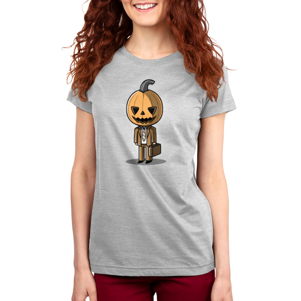 Formal Pumpkin Women's t-shirt model TeeTurtle gray t-shirt featuring a jack-o-lantern in a business suit with a brief case