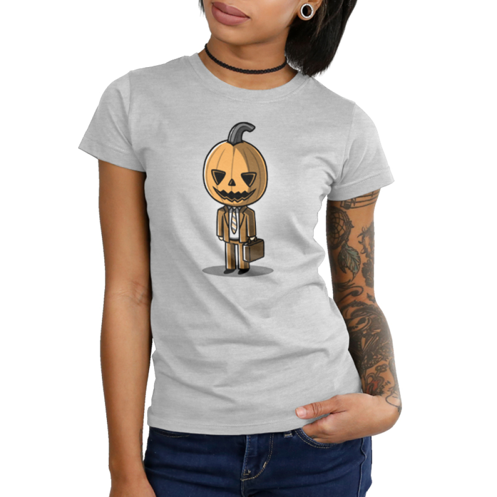 Formal Pumpkin Junior's t-shirt model TeeTurtle gray t-shirt featuring a jack-o-lantern in a business suit with a brief case