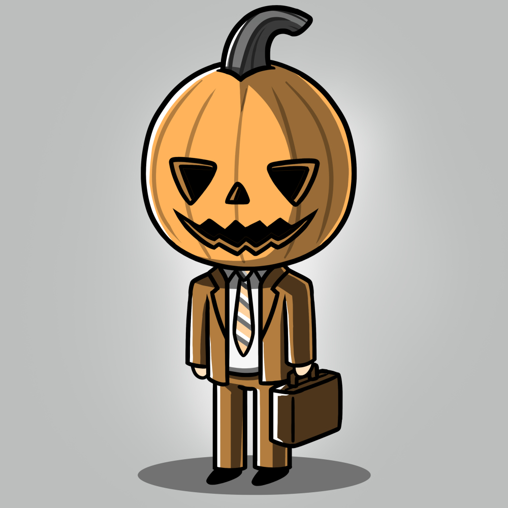 Formal Pumpkin t-shirt TeeTurtle gray t-shirt featuring a jack-o-lantern in a business suit with a brief case