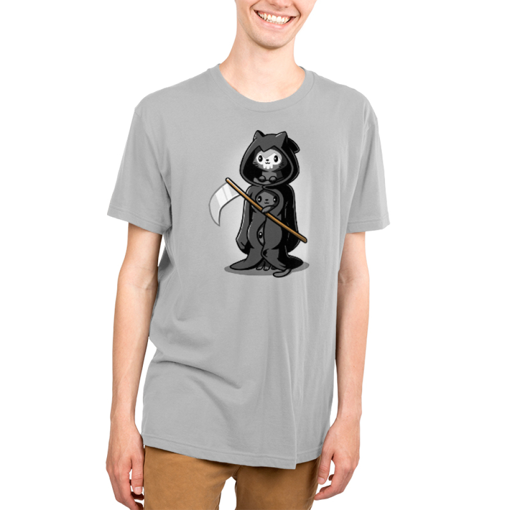 Grim Kitties Men's t-shirt model TeeTurtle gray t-shirt featuring three kitties dressed as one grim reaper with a scythe