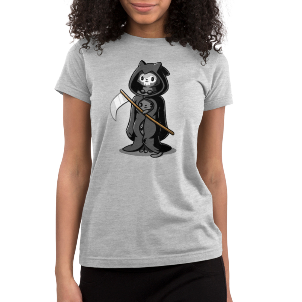 Grim Kitties Junior's t-shirt model TeeTurtle gray t-shirt featuring three kitties dressed as one grim reaper with a scythe