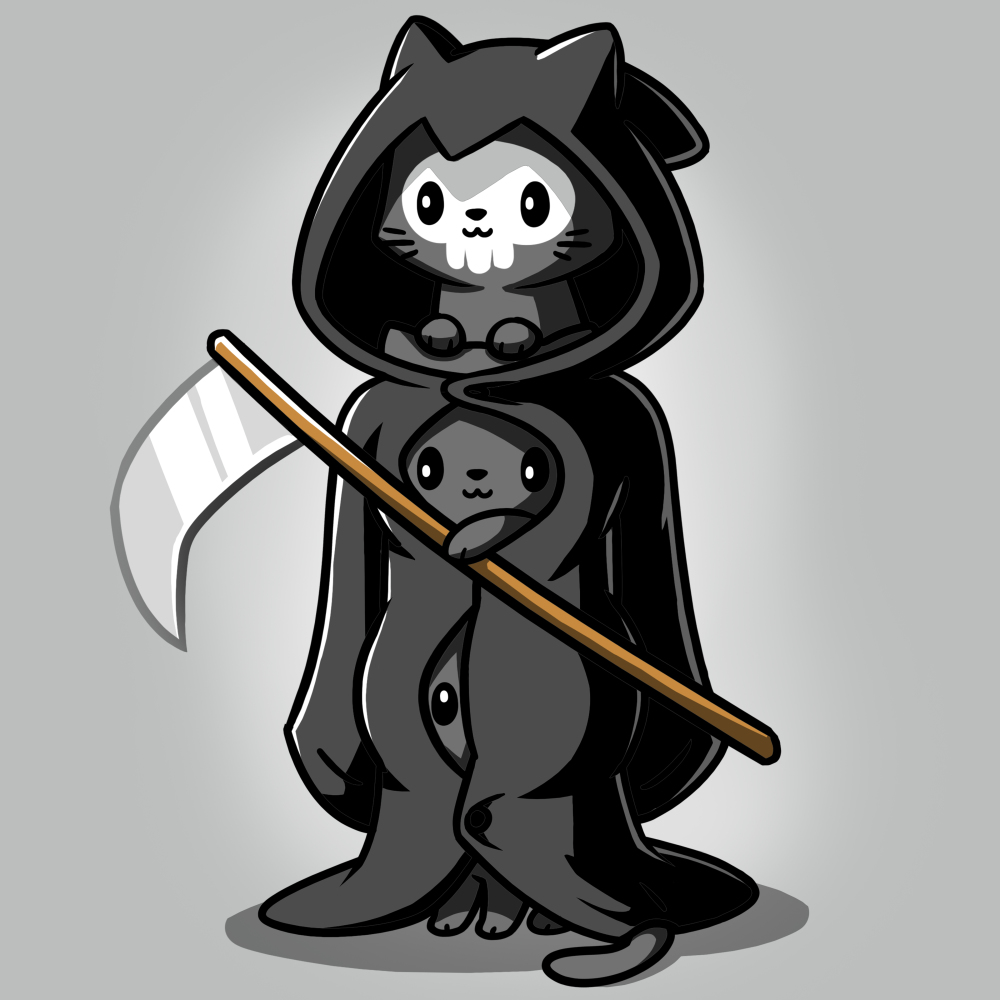 Grim Kitties t-shirt TeeTurtle gray t-shirt featuring three kitties dressed as one grim reaper with a scythe