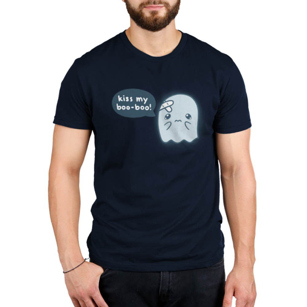 Kiss My Boo-Boo Men's t-shirt model TeeTurtle navy t-shirt featuring a hurt ghost with bandaids on his head