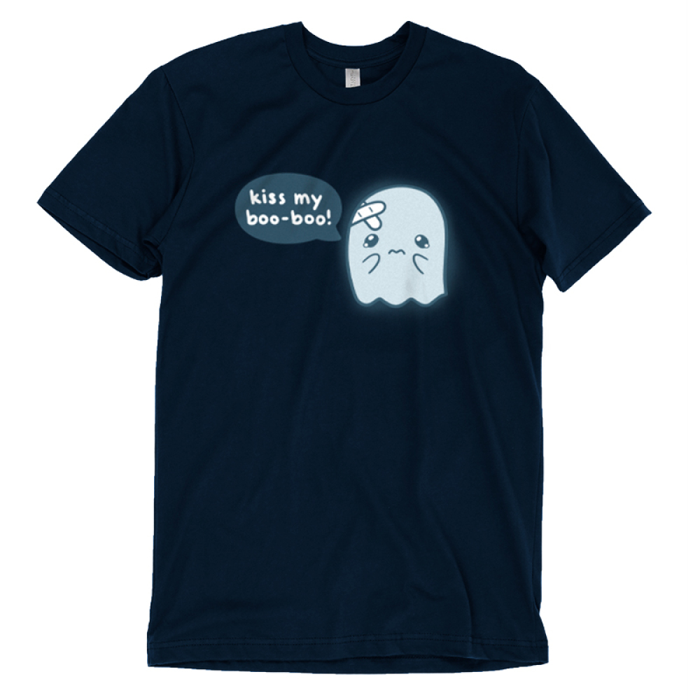 Kiss My Boo-Boo t-shirt TeeTurtle navy t-shirt featuring a hurt ghost with bandaids on his head