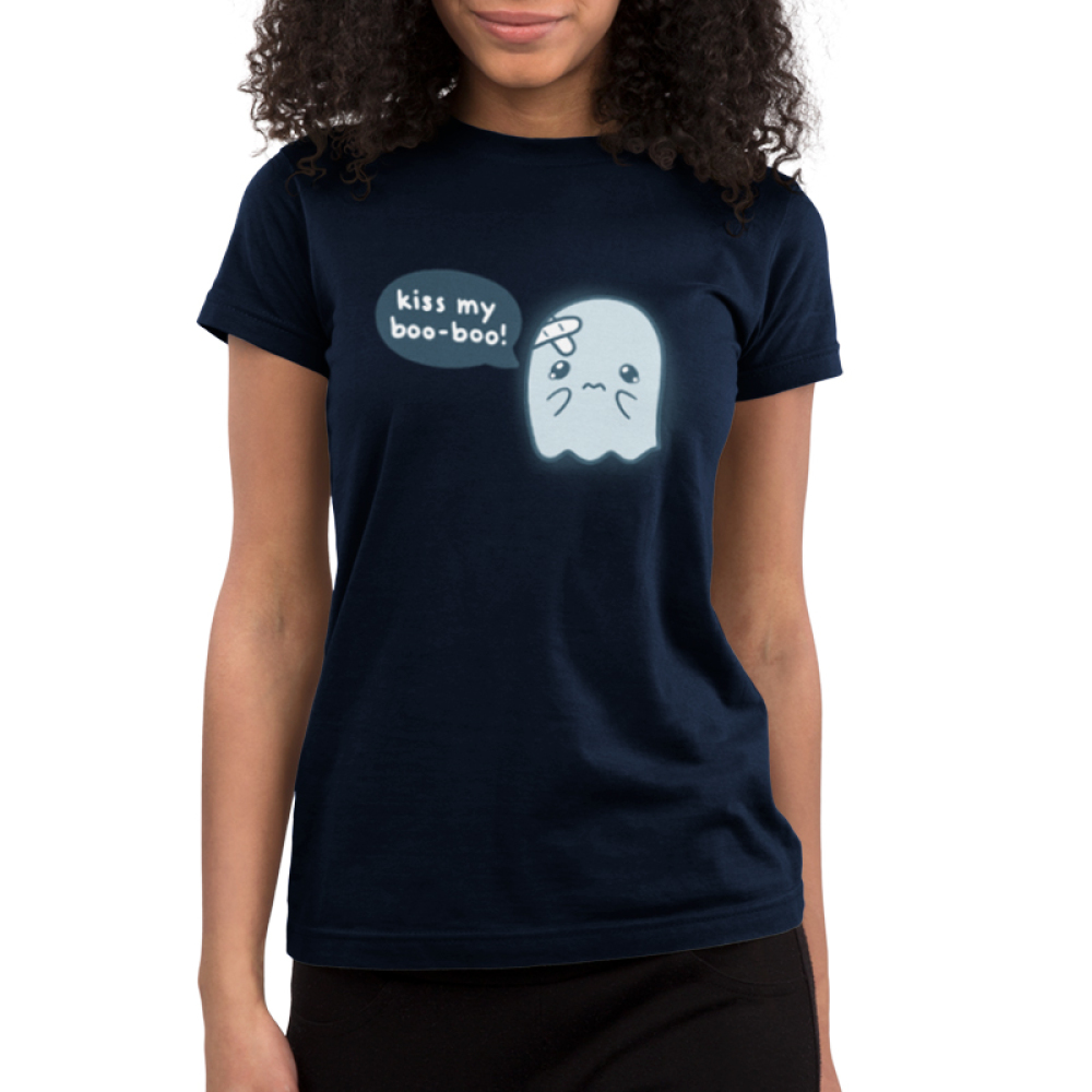 Kiss My Boo-Boo Junior's t-shirt model TeeTurtle navy t-shirt featuring a hurt ghost with bandaids on his head