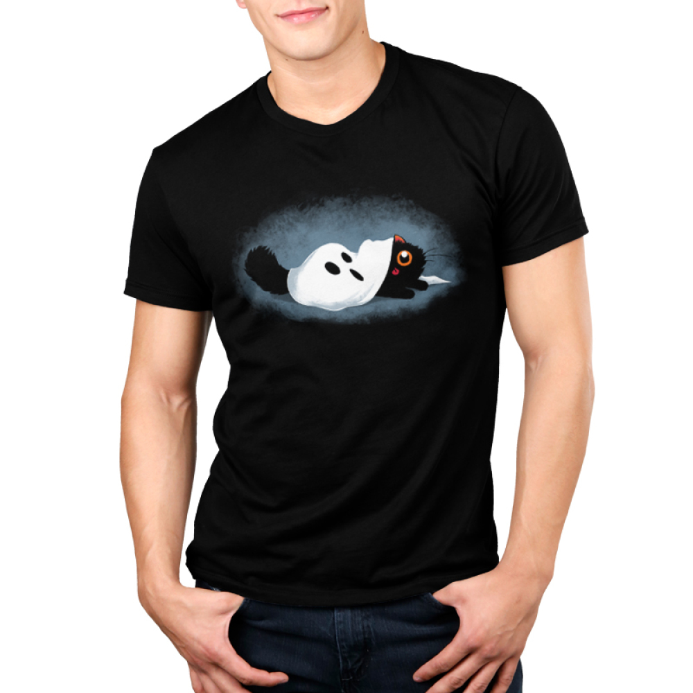 Hide & Sneak Men's t-shirt model TeeTurtle black t-shirt featuring a cat with a ghost costume