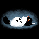 Hide & Sneak t-shirt TeeTurtle black t-shirt featuring a cat with a ghost costume
