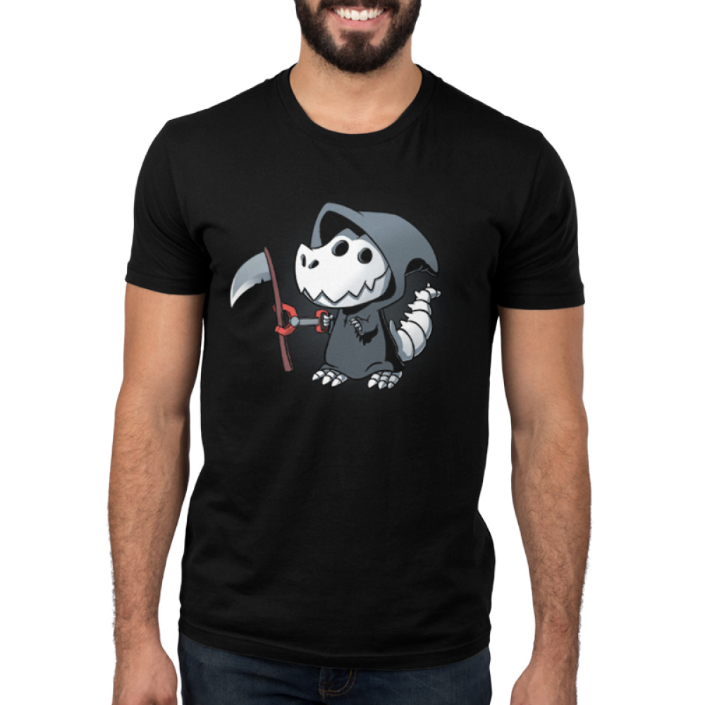 Grim Rex Men's t-shirt model TeeTurtle black t-shirt featuring a t-rex in a grim reaper costume with a toy claw grabbing a scythe