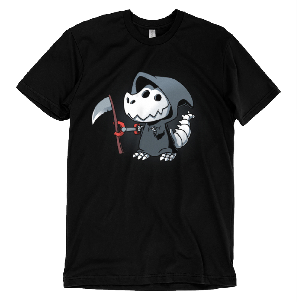 Grim Rex t-shirt TeeTurtle black t-shirt featuring a t-rex in a grim reaper costume with a toy claw grabbing a scythe