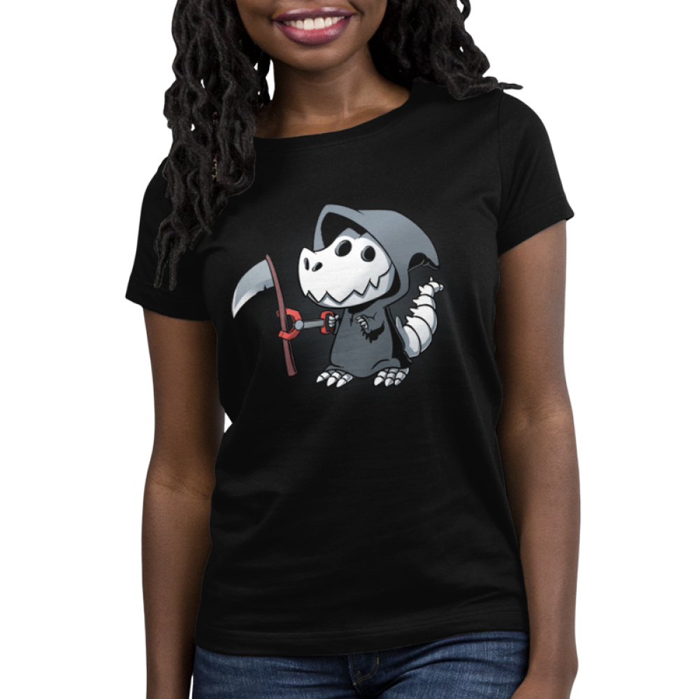 Grim Rex Women's t-shirt model TeeTurtle black t-shirt featuring a t-rex in a grim reaper costume with a toy claw grabbing a scythe