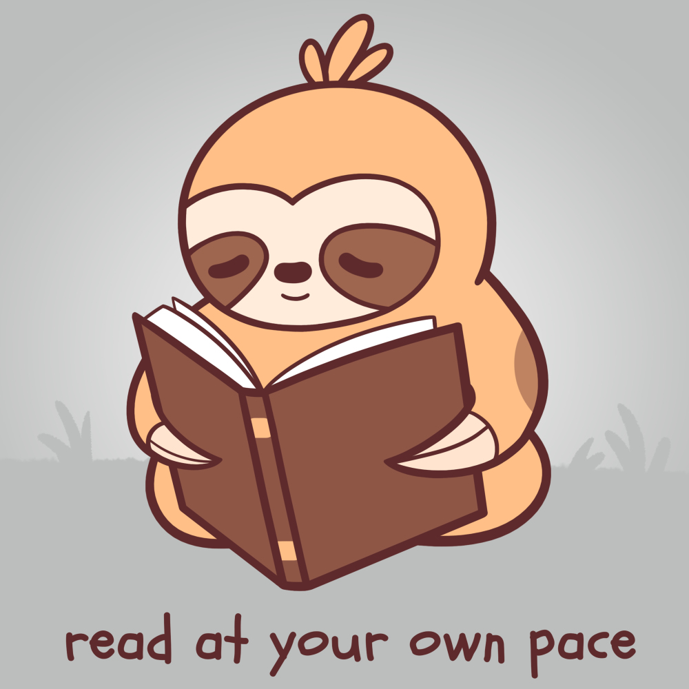Read at Your Own pace t-shirt TeeTurtle gray t-shirt featuring a sloth reading a book in the grass