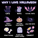 I Love Halloween t-shirt TeeTurtle black t-shirt featuring cats, rats, bats, witch hats, pumpkins, spiders, bones, ghosts, and candy