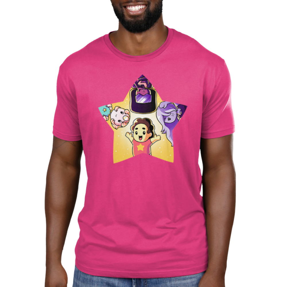 The Crystal Gem Men's t-shirt model TeeTurtle Steven Universe pink t-shirt featuring Steven Universe, Pearl, Garnet, and Amethyst